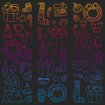 Vector set of Christmas, holiday icons in doodle style. Painted, colorful, gradient pictures on a piece of paper on blackboard. Vettoriali