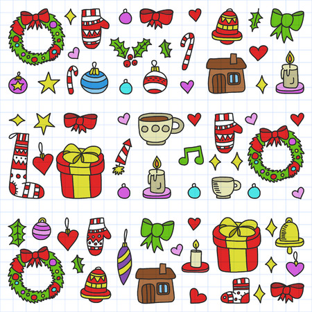 Vector set of Christmas, holiday icons in doodle style. Painted, colorful, on a sheet of checkered paper on a white background.