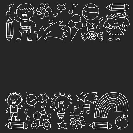 Children garden, Monochrome hand drawn children garden elements pattern, doodle illustration, Vector, illustration, Vertical