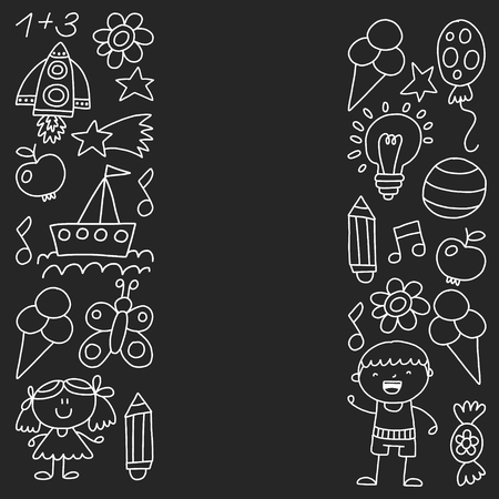 Children garden, Monochrome hand drawn children garden elements pattern, doodle illustration, Vector, illustration, Vertical