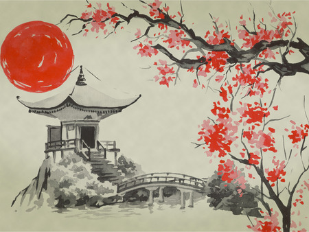 Japan traditional sumi-e painting. Watercolor and ink illustration in style sumi-e, u-sin. Fuji mountain, sakura, sunset. Japan sun. Indian ink illustration. Japanese picture. Фото со стока