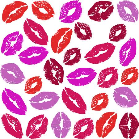 Kisses, love, lipstick, postcard, isolate. 向量圖像