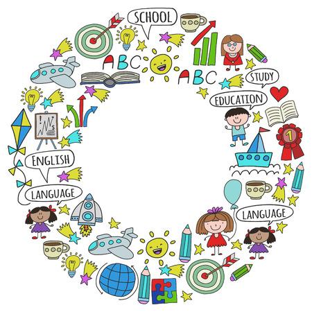 Wektor zestaw do nauki języka angielskiego, rysowania ikon dla dzieci w stylu Bazgroły. Malowane, kolorowe, obrazki na kartce papieru na białym tle.