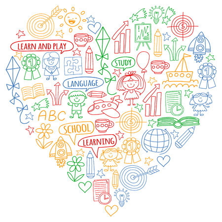 Vector set of learning English language, childrens drawing icons in doodle style. Painted, colorful, pictures on a piece of paper on white background.
