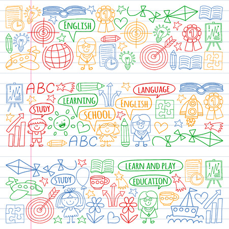 Vector set of learning English language, childrens drawingicons icons in doodle style. Painted, colorful, pictures on a piece of linear paper on white background.
