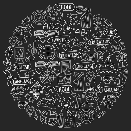 Vector set of learning English language, childrens drawing icons in doodle style. Painted, black monochrome, chalk pictures on a blackboard.