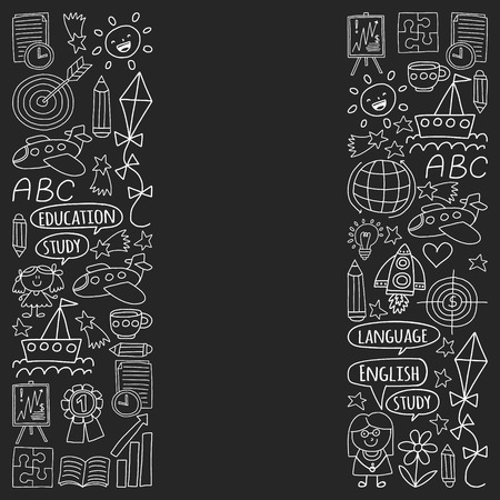 Vector set of learning English language, children's drawing icons in doodle style. Painted, black monochrome, chalk pictures on a blackboard