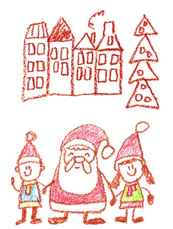 the children kindergarten with teacher hand drawn, outdoor in winter with snowman seasons isolated on the white background