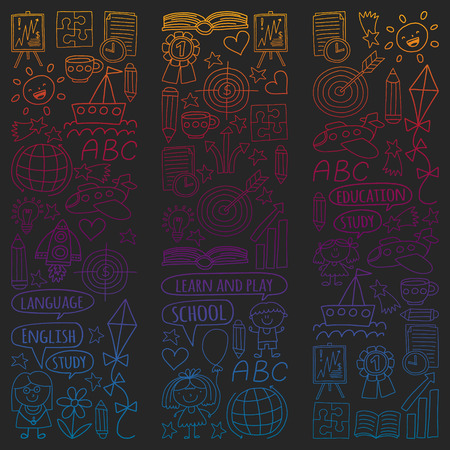 Vector set of learning English language, children's drawing icons in doodle style. Painted, colorful, gradient pictures on a piece of paper on blackboard