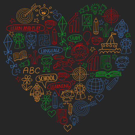 Vector set of learning English language, children's drawing icons in doodle style. Painted, colorful, pictures on a piece of paper on blackboard