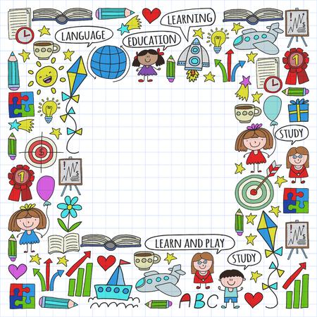 Vector conjunto de aprendizaje del idioma inglés, iconos de dibujo para niños en estilo doodle. Pintado, colorido, en una hoja de papel cuadriculado sobre un fondo blanco.