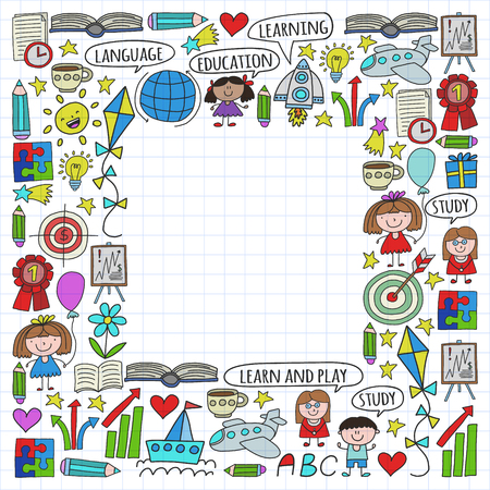 Vector set of learning English language, childrens drawing icons in doodle style. Painted, colorful, on a sheet of checkered paper on a white background.