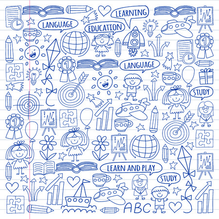 Vector set of earning English language, children's drawingicons icons in doodle style. Painted, black monochrome, pictures on a piece of paper on white background Vettoriali