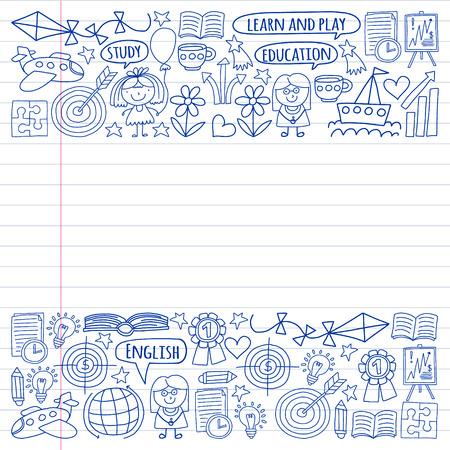 Vector conjunto de ganar idioma inglés, iconos de iconos de dibujo de niños en estilo doodle. Pintado, monocromo negro, imágenes en una hoja de papel sobre fondo blanco.
