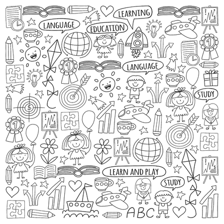 Vector set of learning English language, children's drawingicons icons in doodle style. Painted, black monochrome, pictures on a piece of paper on white background