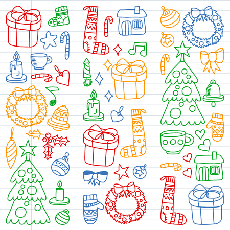 Vector set of Christmas, holiday winter days 2019, 2020, vector illustration. New Years pattern, childrens drawings with a teacher icons in doodle style. Painted, colorful, pictures on a piece of linear paper on white background