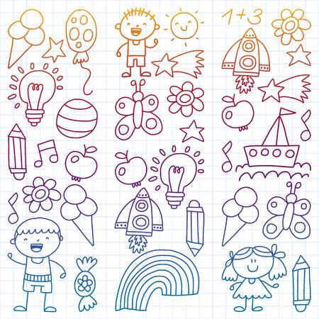 Children garden, Patern, Hand drawn children garden elements pattern, doodle illustration, Vector, illustration Vertical