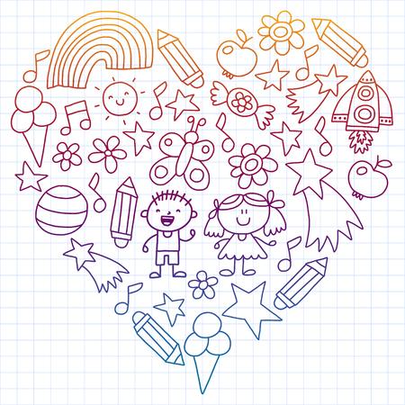 Children garden, Patern, Hand drawn children garden elements pattern, doodle illustration, Vector, illustration Vertical Imagens - 124948889