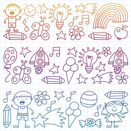 Children garden, Patern, Hand drawn children garden elements pattern, doodle illustration, Vector, illustration Vertical Imagens - 124948891