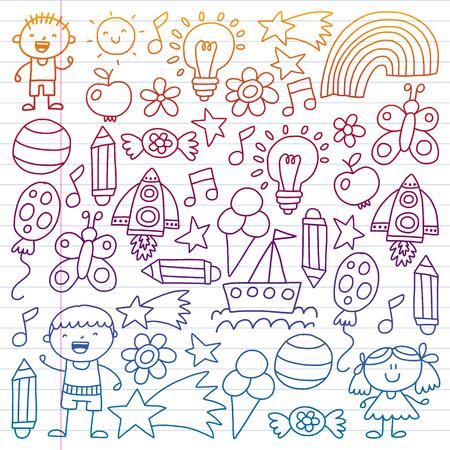 Children garden, Patern, Hand drawn children garden elements pattern, doodle illustration, Vector, illustration, Vertical gradient Imagens - 124880195