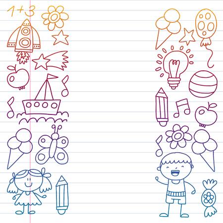 Children garden, Patern, Hand drawn children garden elements pattern, doodle illustration, Vector, illustration, Vertical gradient Imagens - 124880196