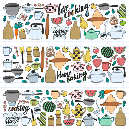 Vector set of childrens kitchen and cooking drawings icons in doodle style. Painted, colorful, on a sheet of checkered paper on a white background
