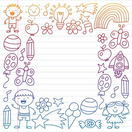 Children garden, Patern, Hand drawn children garden elements pattern, doodle illustration, Vector, illustration, Vertical gradient Imagens - 124880201