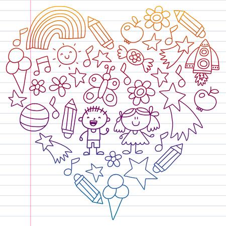 Children garden, Patern, Hand drawn children garden elements pattern, doodle illustration, Vector, illustration, Vertical gradient Imagens - 124880202