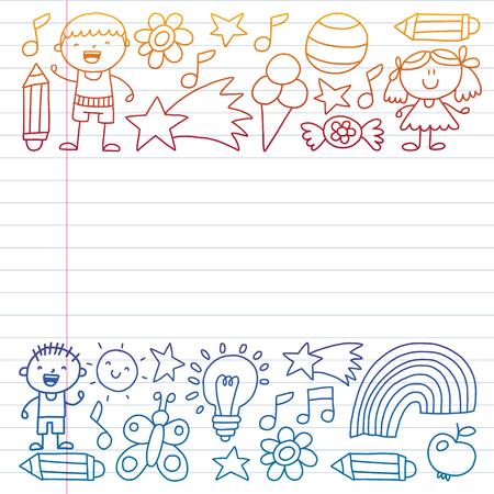Children garden, Patern, Hand drawn children garden elements pattern, doodle illustration, Vector, illustration, Vertical gradient Иллюстрация