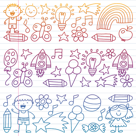 Children garden, Patern, Hand drawn children garden elements pattern, doodle illustration, Vector, illustration, Vertical gradient Imagens - 124880204