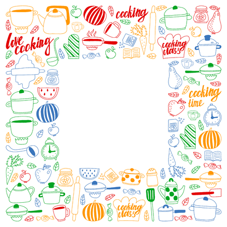 Vector set of children's kitchen and cooking drawings icons in doodle style. Painted, colorful, pictures on a piece of paper on white background Imagens - 124880205
