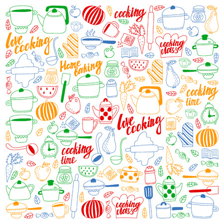 Vector set of childrens kitchen and cooking drawings icons in doodle style. Painted, colorful, pictures on a piece of paper on white background