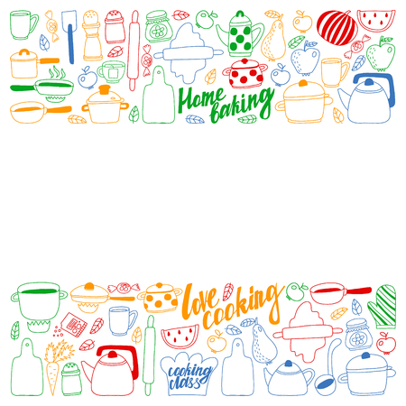 Vector set of children's kitchen and cooking drawings icons in doodle style. Painted, colorful, pictures on a piece of paper on white background Imagens - 124880207