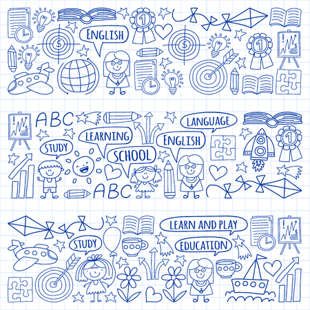 Vector set of learning English language, children's drawingicons icons in doodle style. Painted, drawn with a pen, on a sheet of checkered paper on a white background Imagens - 124880208