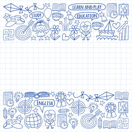 Vector set of learning English language, childrens drawingicons icons in doodle style. Painted, drawn with a pen, on a sheet of checkered paper on a white background