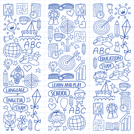 Vector set of learning English language, children's drawingicons icons in doodle style. Painted, drawn with a pen, on a sheet of checkered paper on a white background Imagens - 124880210