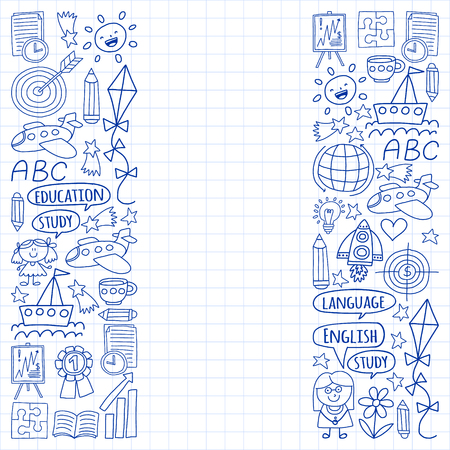 Vector set of learning English language, children's drawingicons icons in doodle style. Painted, drawn with a pen, on a sheet of checkered paper on a white background Imagens - 124880211