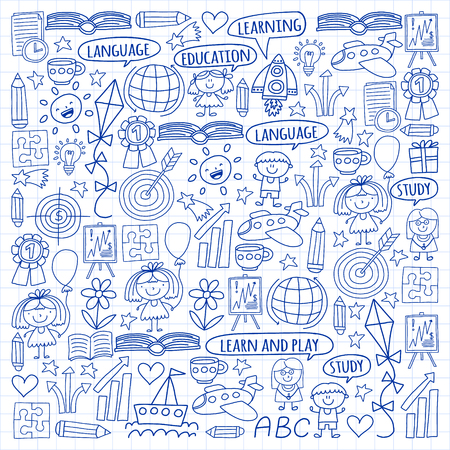 Vector set of learning English language, children's drawingicons icons in doodle style. Painted, drawn with a pen, on a sheet of checkered paper on a white background