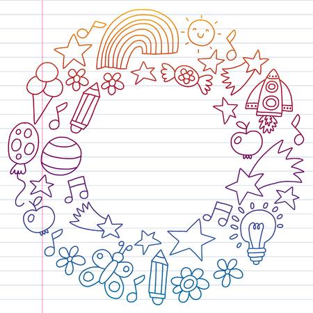 Children garden, Patern, Hand drawn children garden elements pattern, doodle illustration, Vector, illustration, Vertical gradient Imagens - 124880215