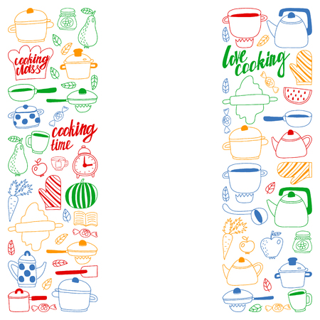 Vector set of children's kitchen and cooking drawings icons in doodle style. Painted, colorful, pictures on a piece of paper on white background Imagens - 124880216