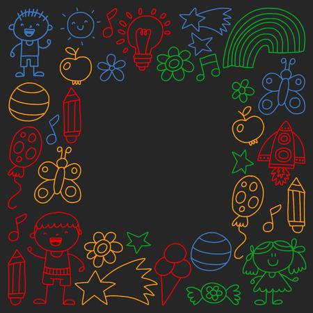 Children garden, Patern, Hand drawn children garden elements pattern, doodle illustration, Vector, illustration