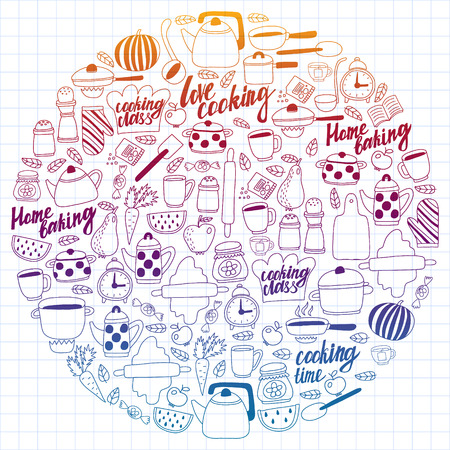 Vector set of children's kitchen and cooking drawings icons in doodle style. Painted, colorful, gradient, on a sheet of checkered paper on a white background. Imagens - 124808938