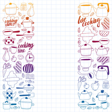 Vector set of childrens kitchen and cooking drawings icons in doodle style. Painted, colorful, gradient, on a sheet of checkered paper on a white background.