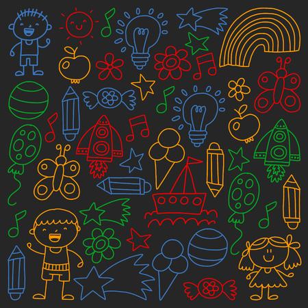 Children garden, Patern, Hand drawn children garden elements pattern, doodle illustration, Vector, illustration Imagens - 124808942