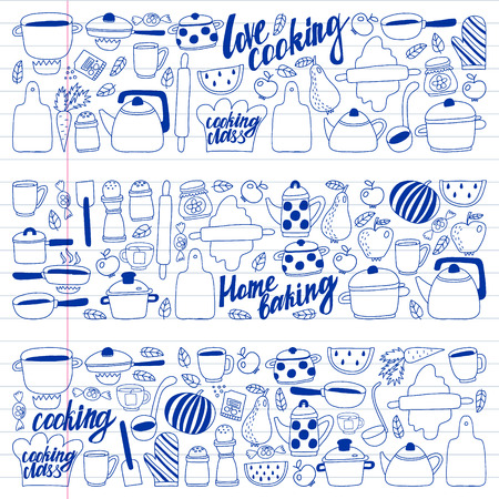 Vector set of childrens kitchen and cooking drawings icons in doodle style. Painted, drawn with a pen, on a sheet of checkered paper on a white background