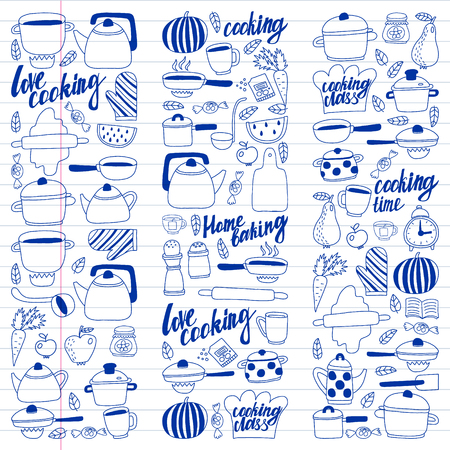 Vector set of children's kitchen and cooking drawings icons in doodle style. Painted, drawn with a pen, on a sheet of checkered paper on a white background Imagens - 124808947