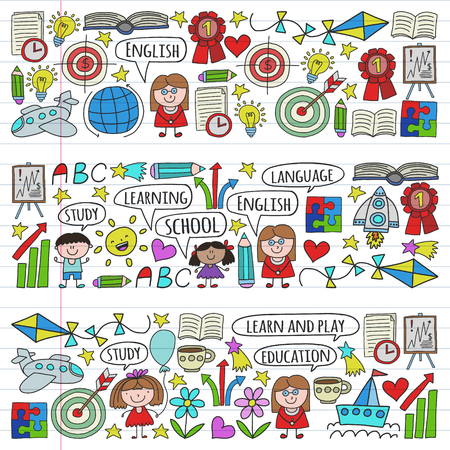 Vector set of learning English language, childrens drawing icons in doodle style. Painted, colorful, pictures on a piece of linear paper on white background.