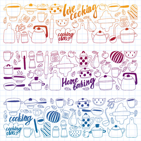 Vector set of children's kitchen and cooking drawings icons in doodle style. Painted, colorful, gradient, on a sheet of checkered paper on a white background. Imagens - 124808950