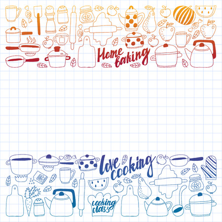 Vector set of children's kitchen and cooking drawings icons in doodle style. Painted, colorful, gradient, on a sheet of checkered paper on a white background. Imagens - 124808951