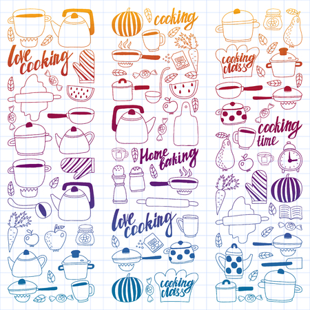 Vector set of children's kitchen and cooking drawings icons in doodle style. Painted, colorful, gradient, on a sheet of checkered paper on a white background.